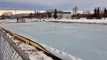 Outdoor skating rink at the Jets Ball Diamonds, east of the Didsbury Memorial Complex.